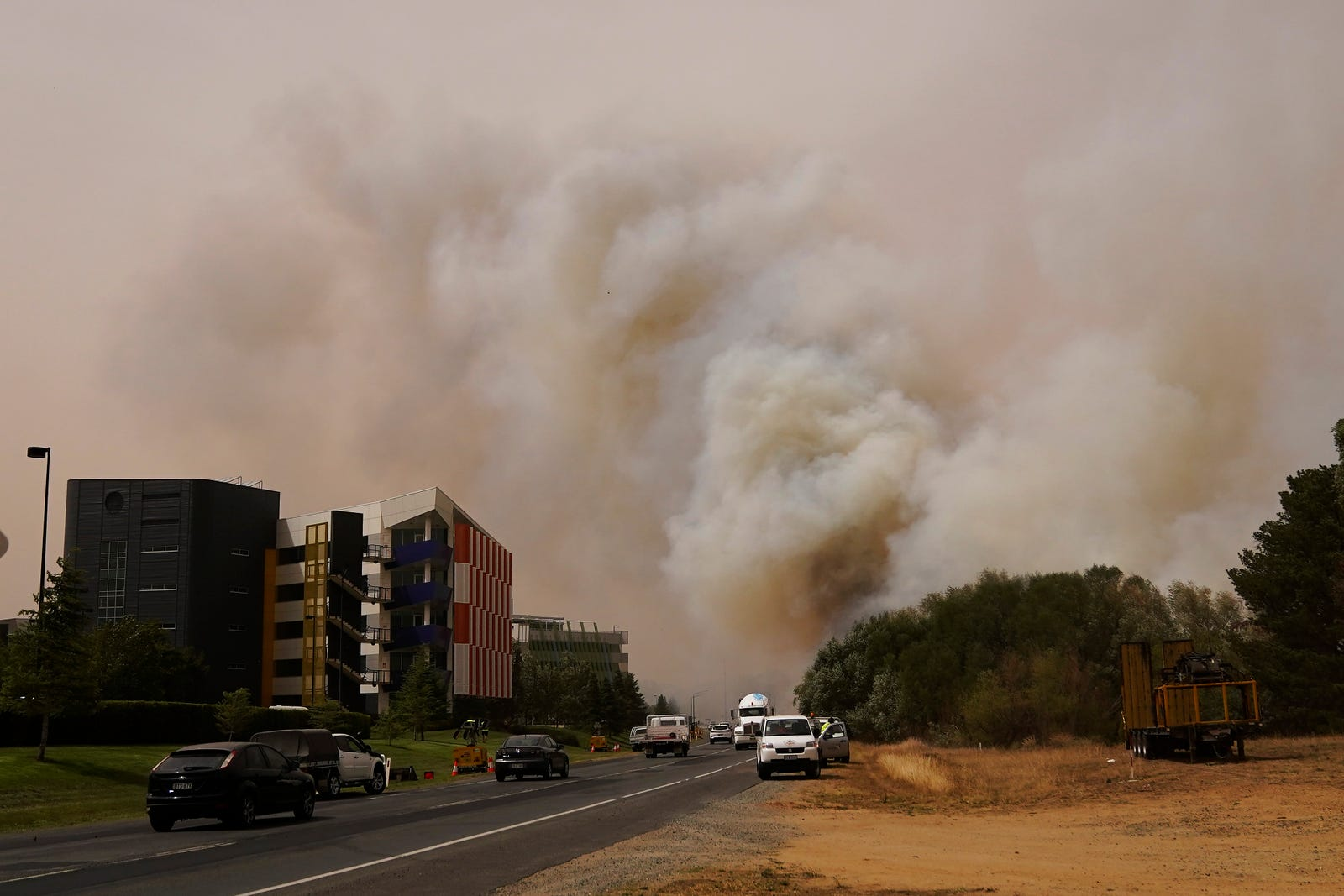 A bushfire burns on January 23, 2020 in Canberra, Australia.