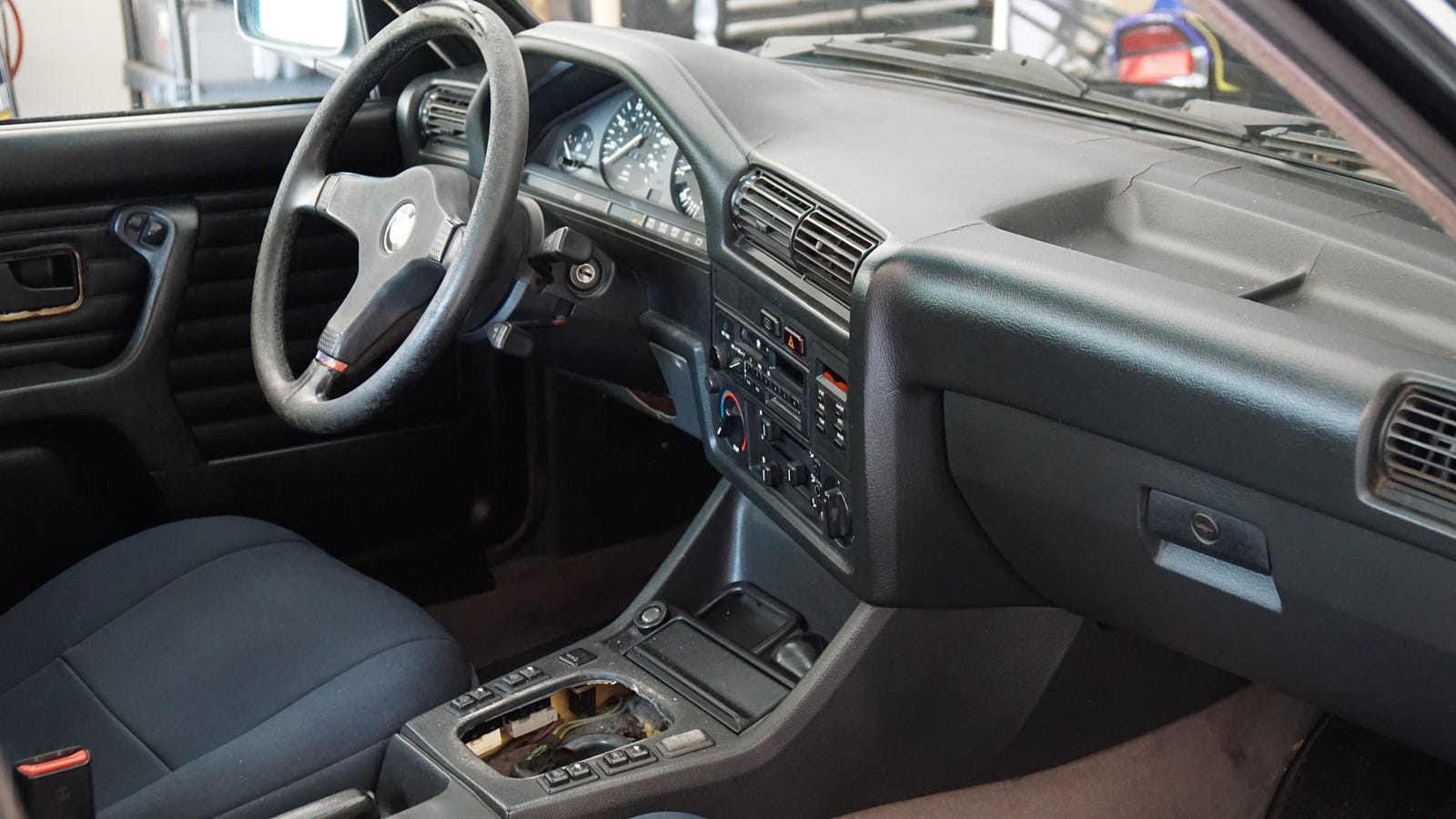 An interior so rough you might not even notice the shifter is missing.
