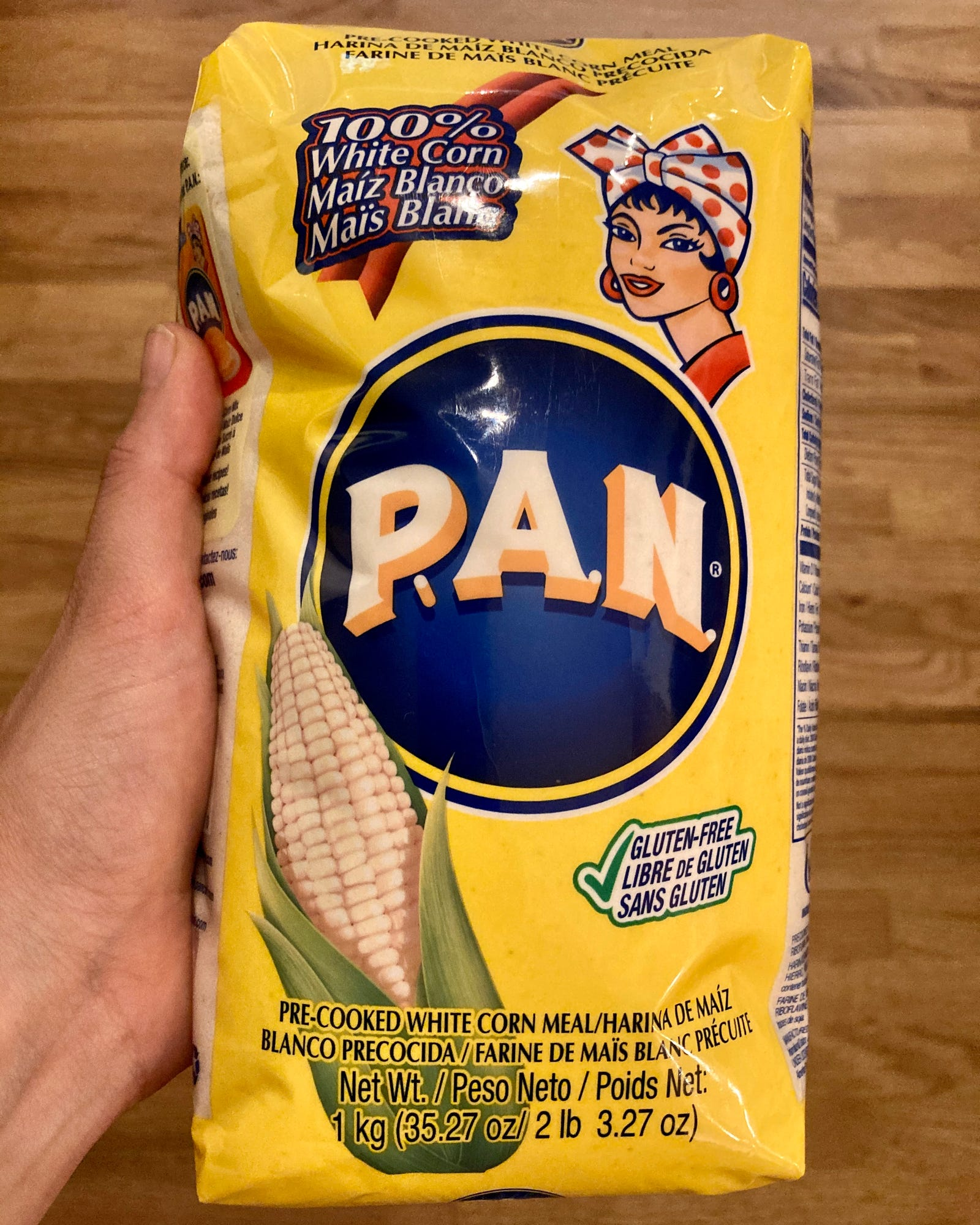 P.A.N. is the brand I see at grocery stores in the states most often. It has a recipe for making arepas on the back.