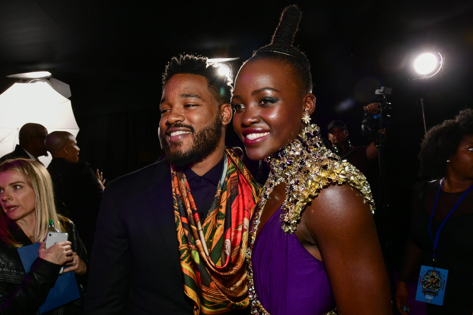 """Black Pantherbaes: Ryan Coogler and Lupita Nyong'o at the """"red carpet"""" premiere of Black Panther on Jan. 29, 2018, in Hollywood, Calif. (Emma McIntyre/Getty Images)"""