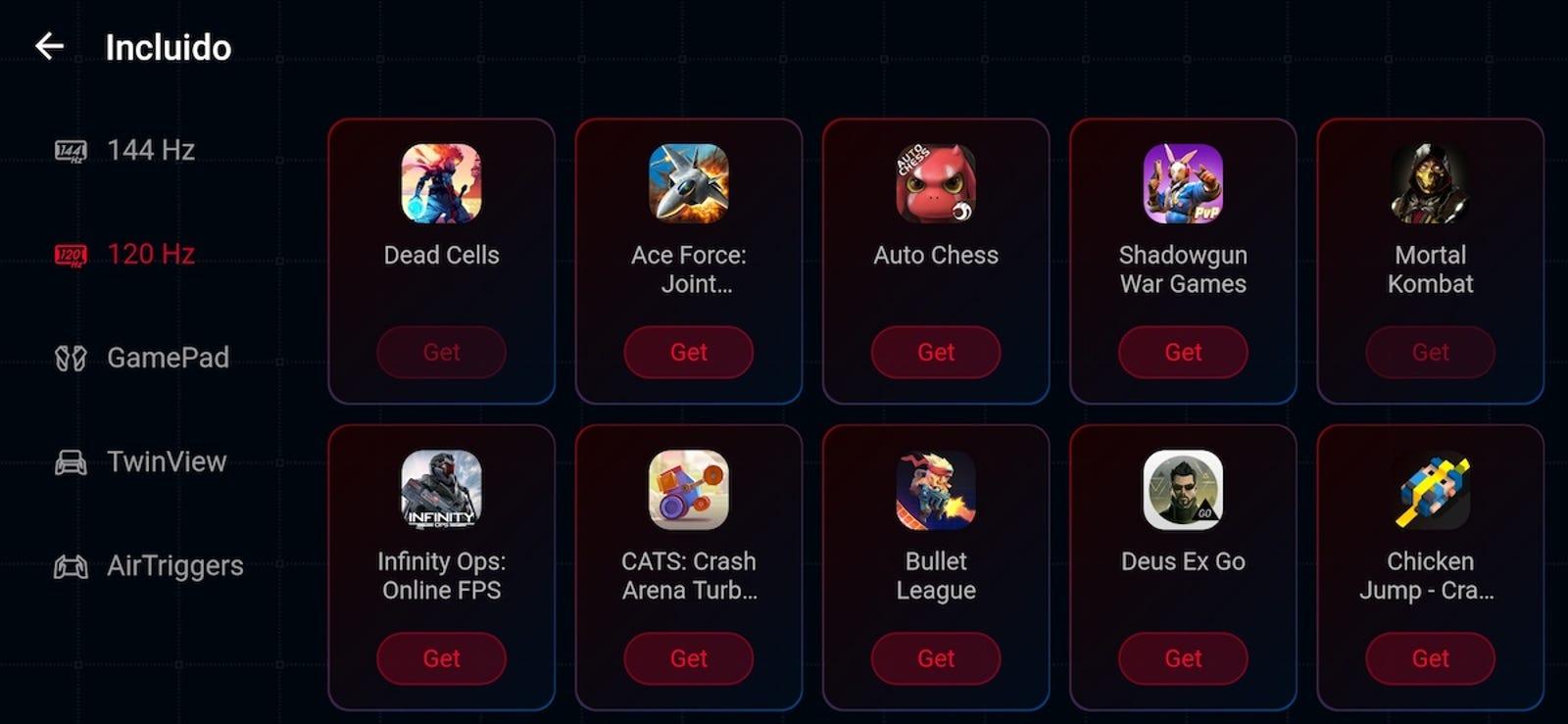 Los juegos en Armory Crate están ordenados por su compatibilidad con diferentes tasas de refresco. Si los pulsas, por cierto, te llevan a la tienda de Android.