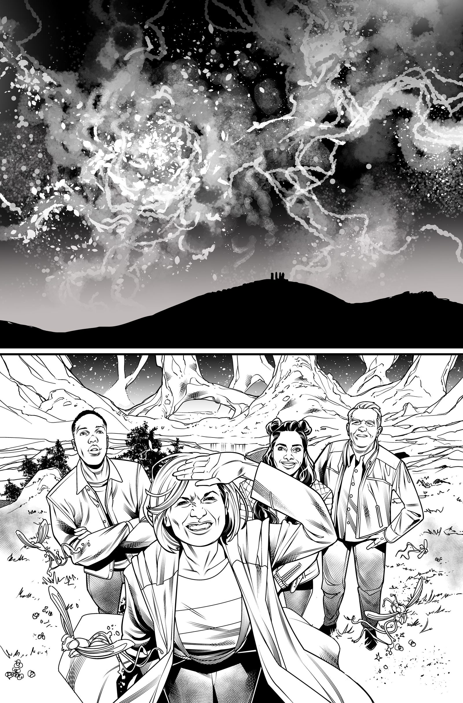 Thirteenth Doctor #1 line art by Rachael Stott.