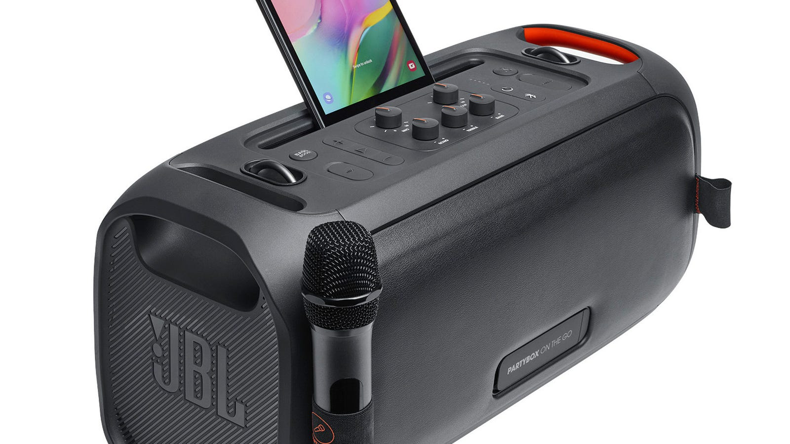 New JBL PartyBox On-the-Go comes with an included mic.