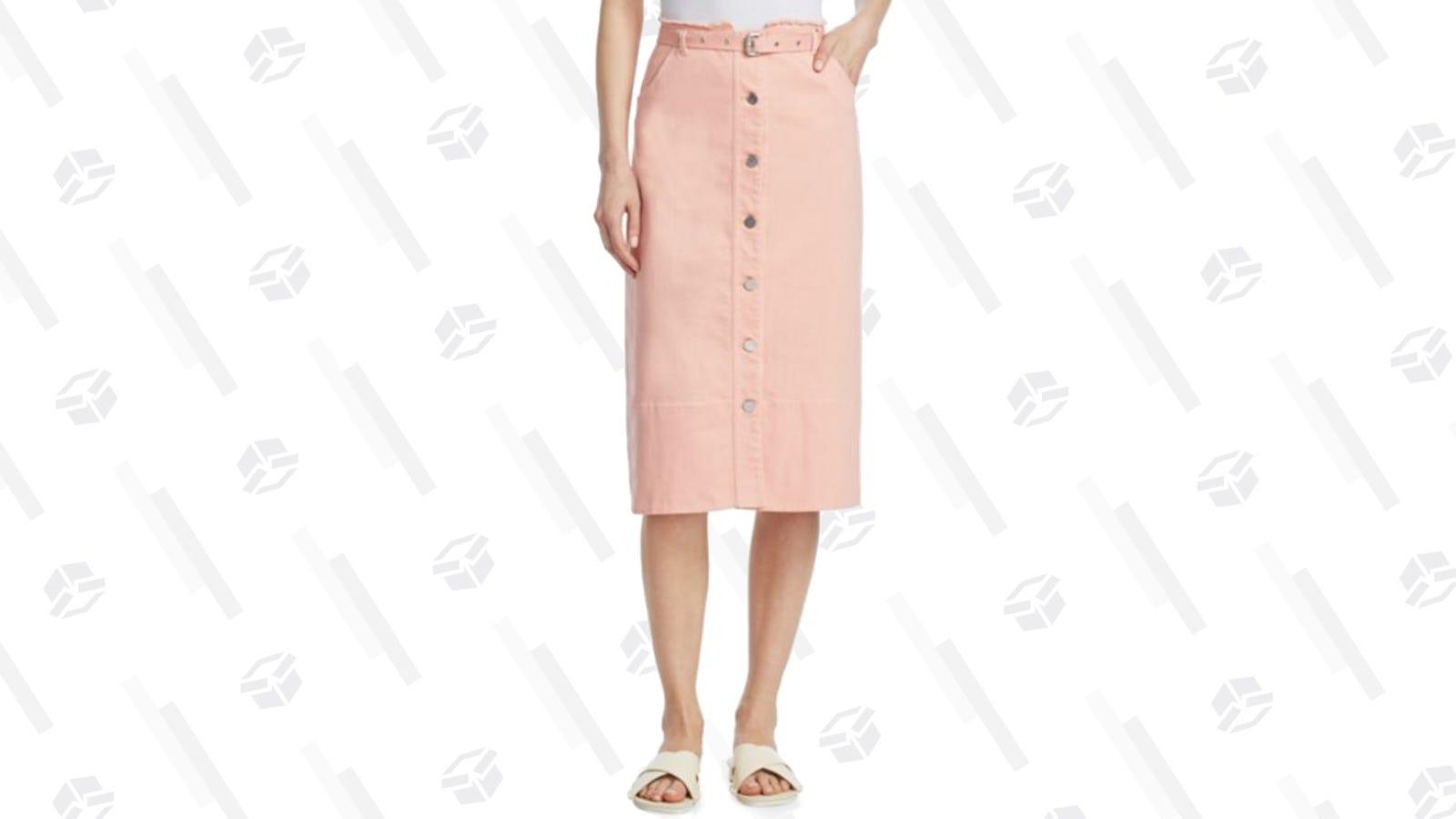 Elizabeth and James Merritt Belted Denim Skirt   Saks Fifth Avenue