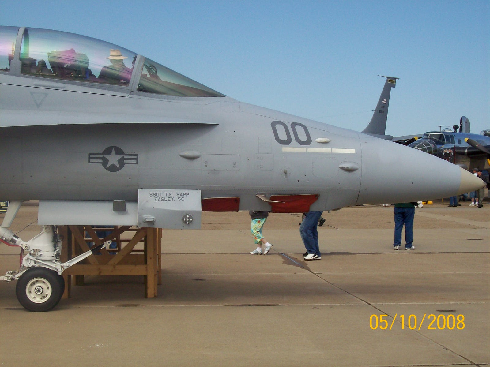 An F/A-18D (RC) Hornet fitted with ATARS (Advanced Tactical Airborne Reconnaissance System)