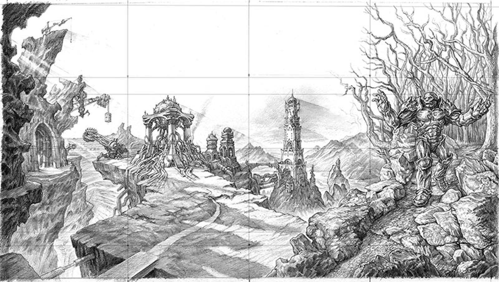 Mark Tedin's original sketches for a panorama across four cards: Urza's Mine, Urza's Power Plant, Urza's Tower, and Karn Liberated...