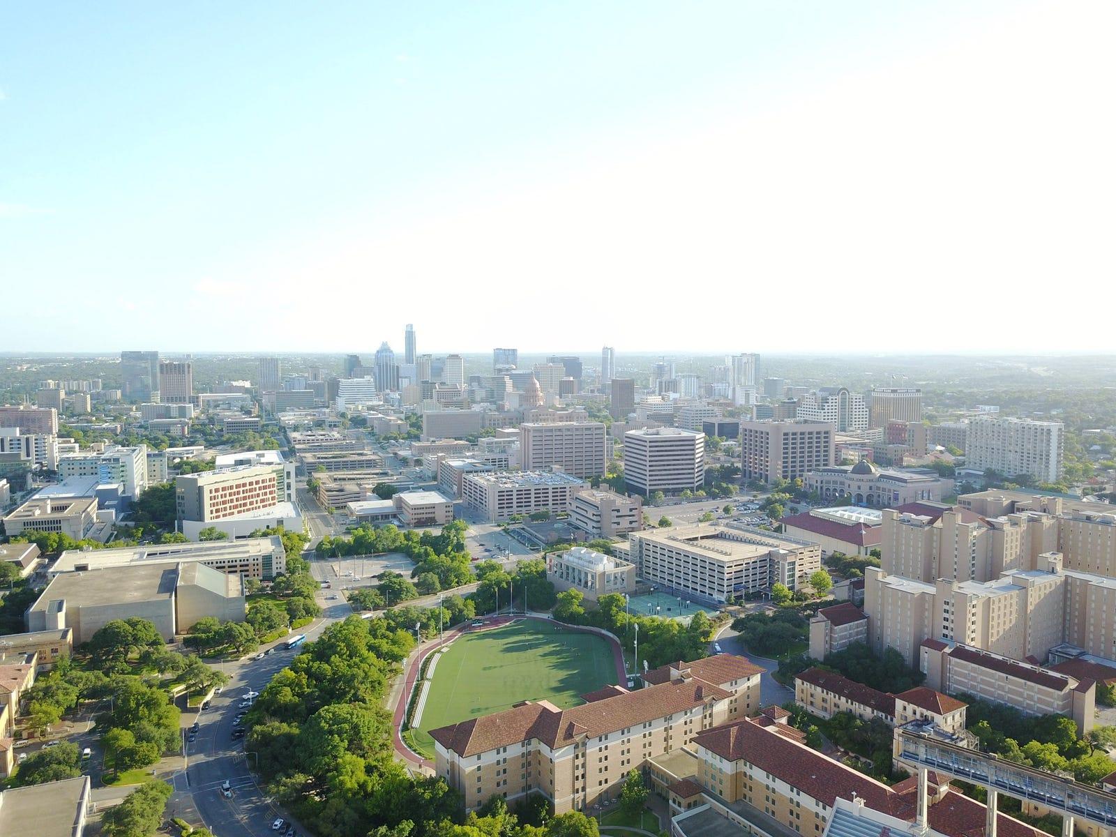 Downtown Austin from Darrell K Royal - Texas Memorial Stadium