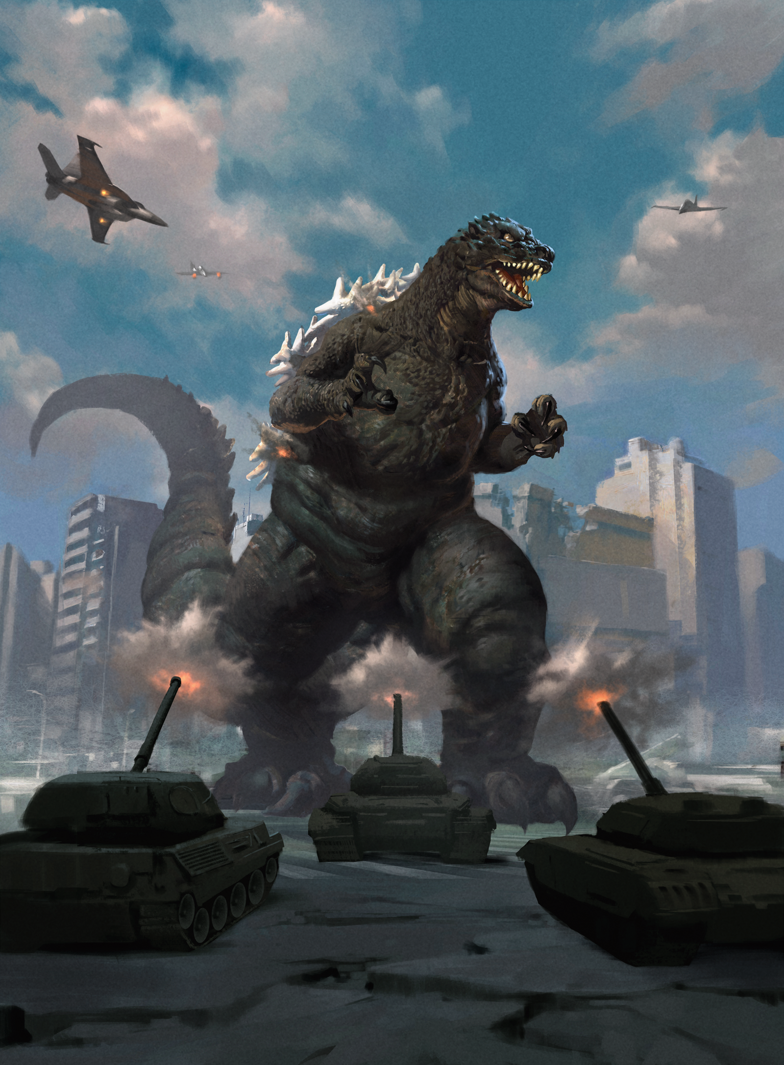 The full card art for Godzilla, Primeval Titan...