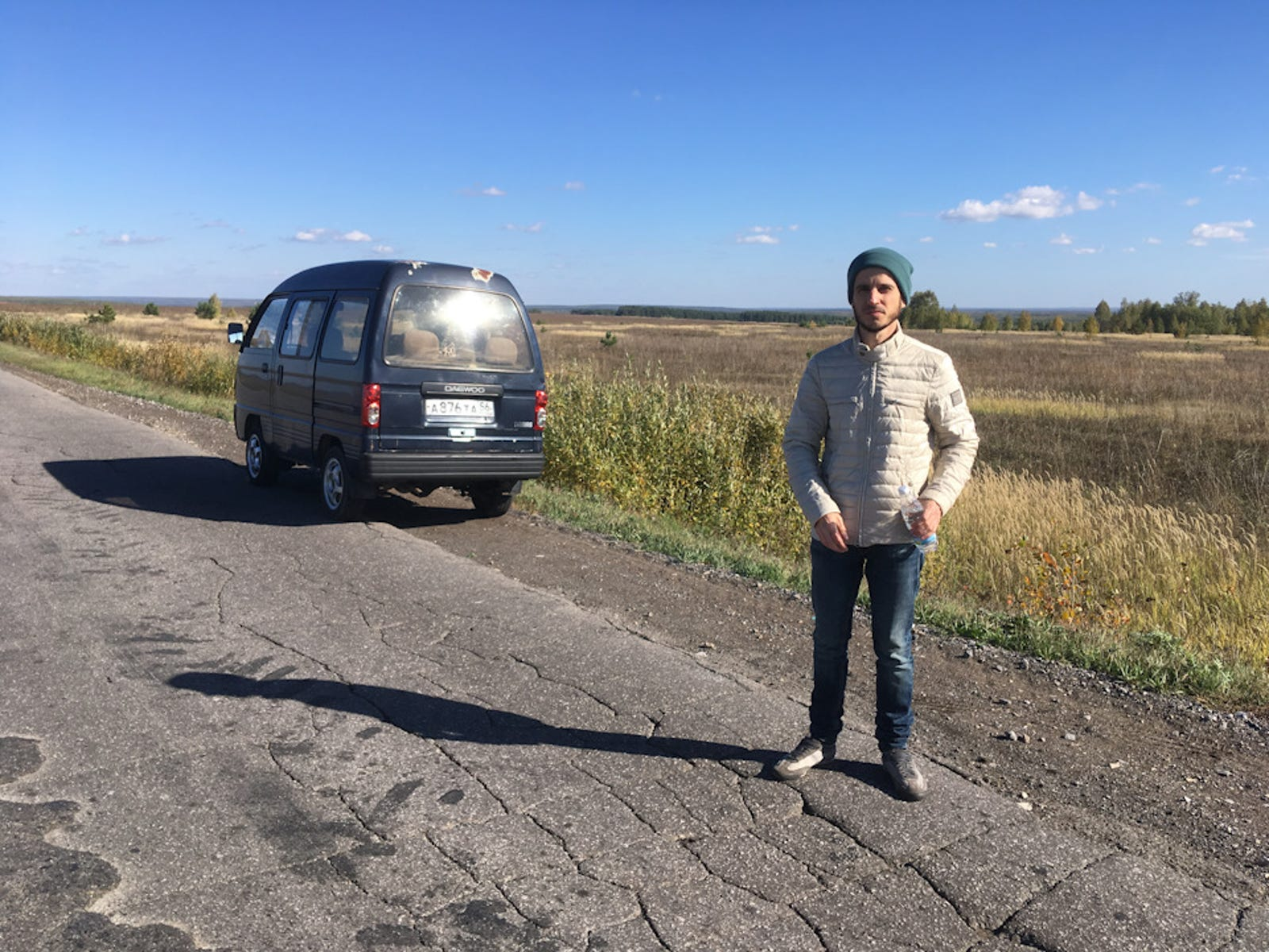 This is Nikolai, one of the hitchhikers Mitya picked up along the way. He gave Mitya a home-grown watermelon in return.