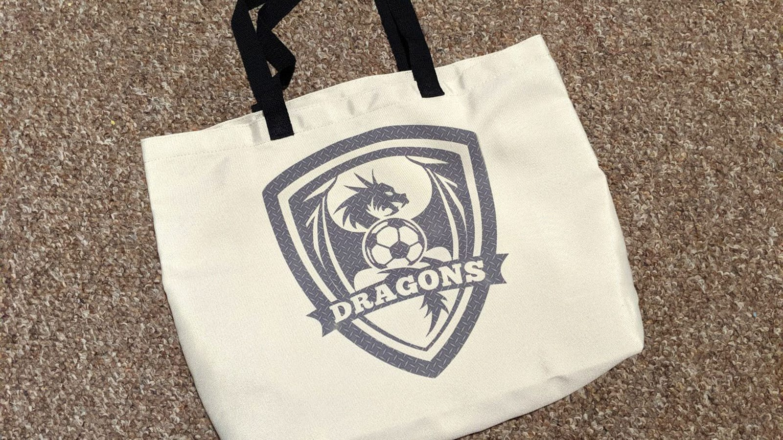 Finished Dragons Soccer tote made with Cricut Infusible Ink.