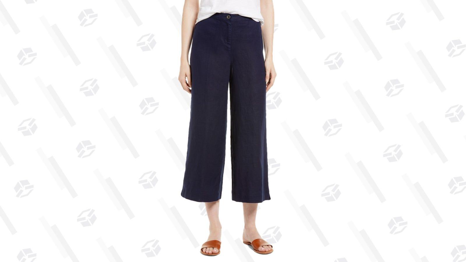 Eileen Fisher Wide Leg Organic Linen Pants   Nordstrom