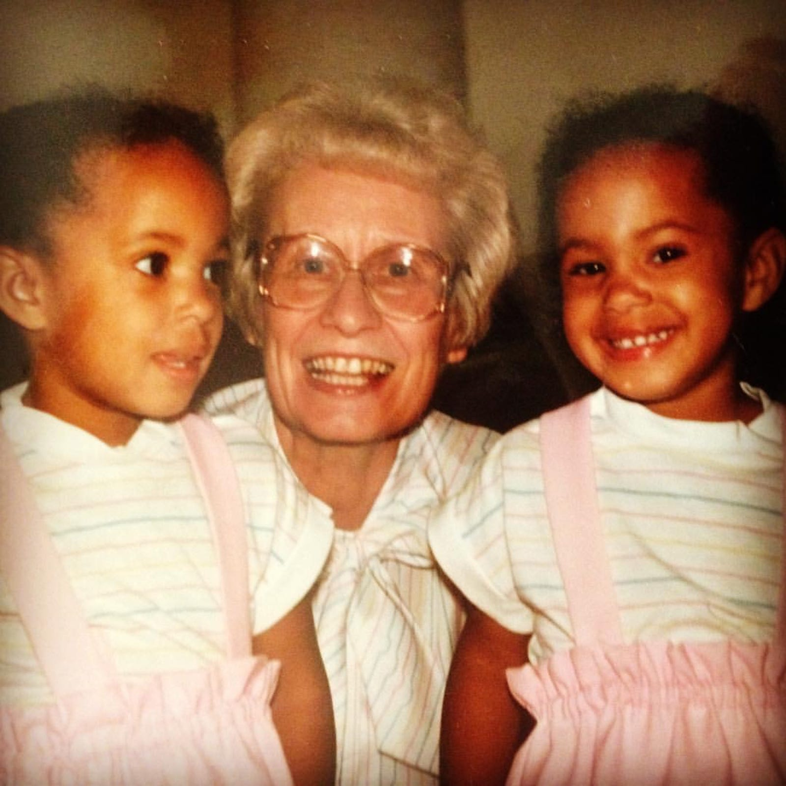 My twin sister Jessica and I with Gram, my maternal grandmother Evelyn Hall, in California in the late 1980s.