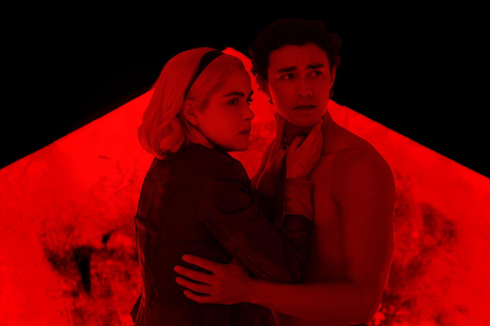 Sabrina (Kiernan Shipka) and Nicholas Scratch (Gavin Leatherwood) reunite in Hell. All photos: Netflix.
