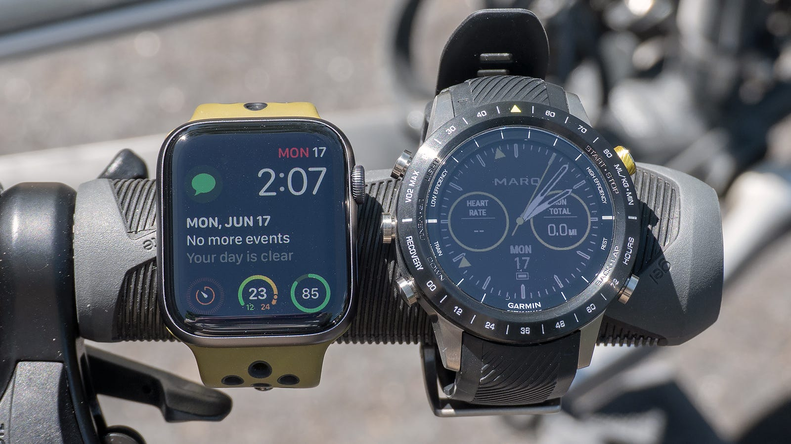 In direct sunlight, the MARQ Athlete's reflective LCD display is as bright and crisp as the Apple Watch's OLED.
