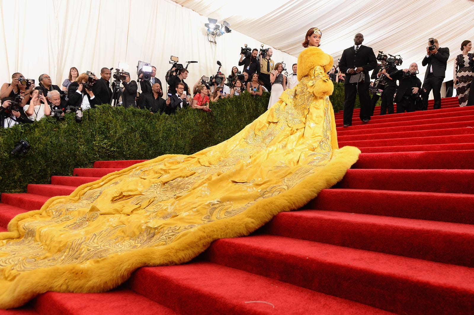 "Sing like a canary: Who can forget Rihanna's unforgettable entrance to the ""China: Through the Looking Glass"" Costume Institute Benefit Gala on May 4, 2015, in New York City? (Dimitrios Kambouris/Getty Images)"