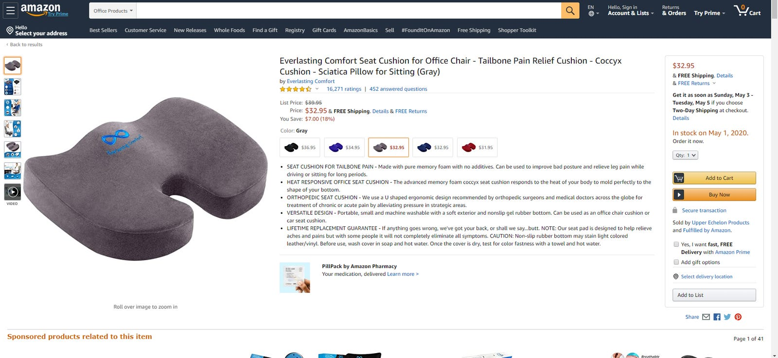 Everlasting Comfort seat cushion from Upper Echelon Products on Amazon.