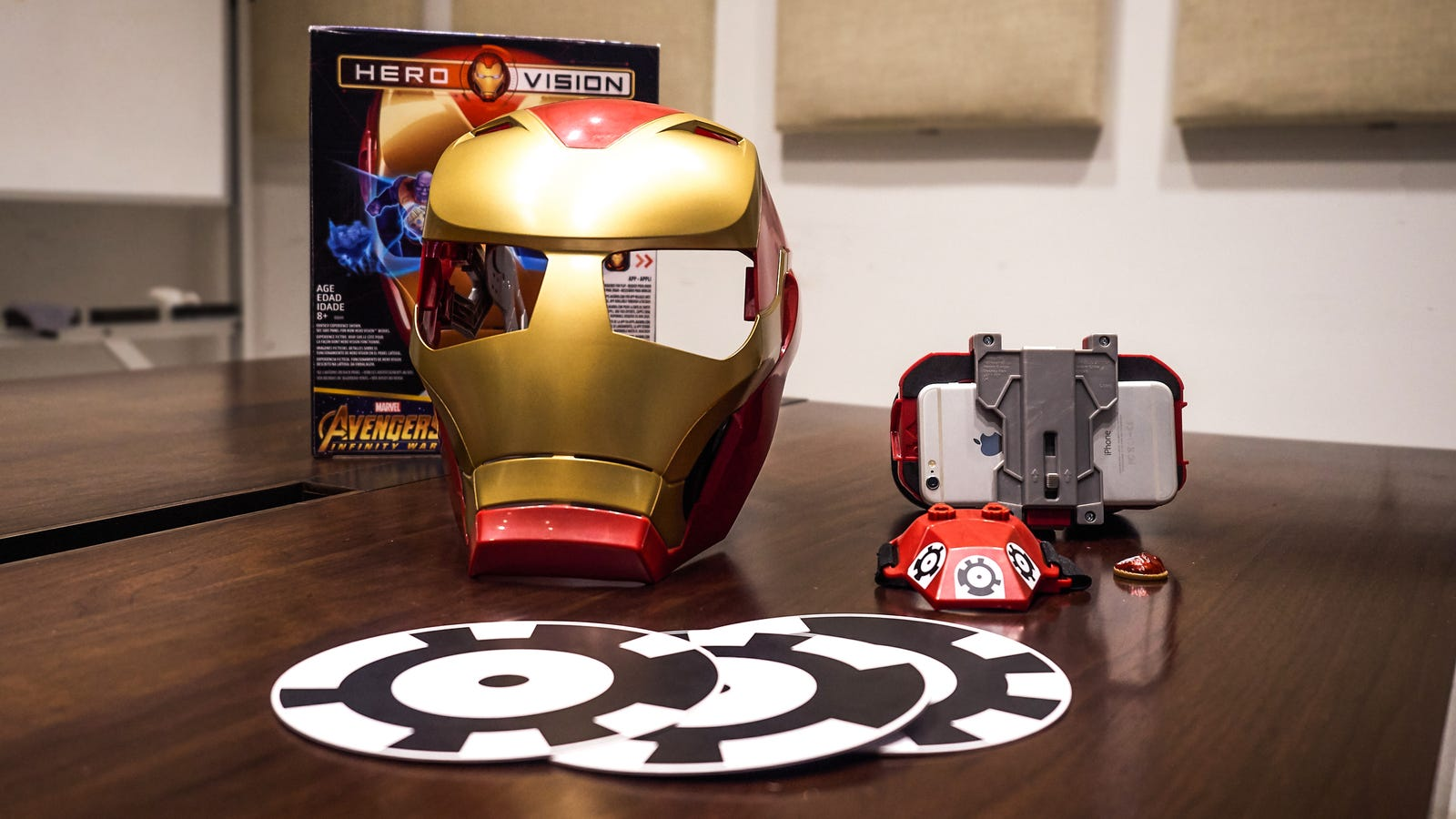 Hero Vision includes a mask, AR headset, three cardboard cutouts for positional tracking, one gauntlet, and a single Infinity Stone.