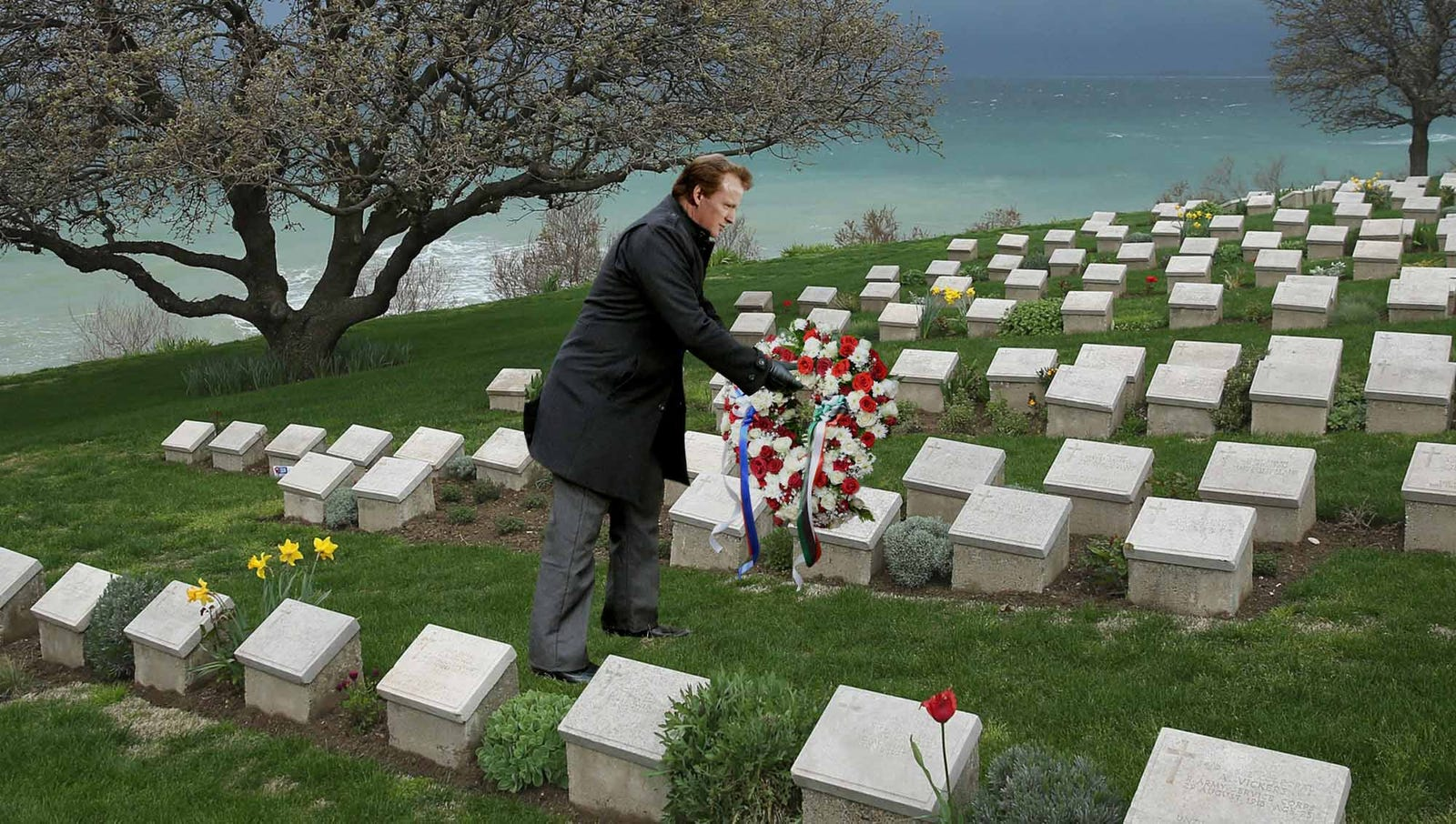 Roger Goodell Lays Wreath At National Football League Cemetery In Super Bowl Tradition