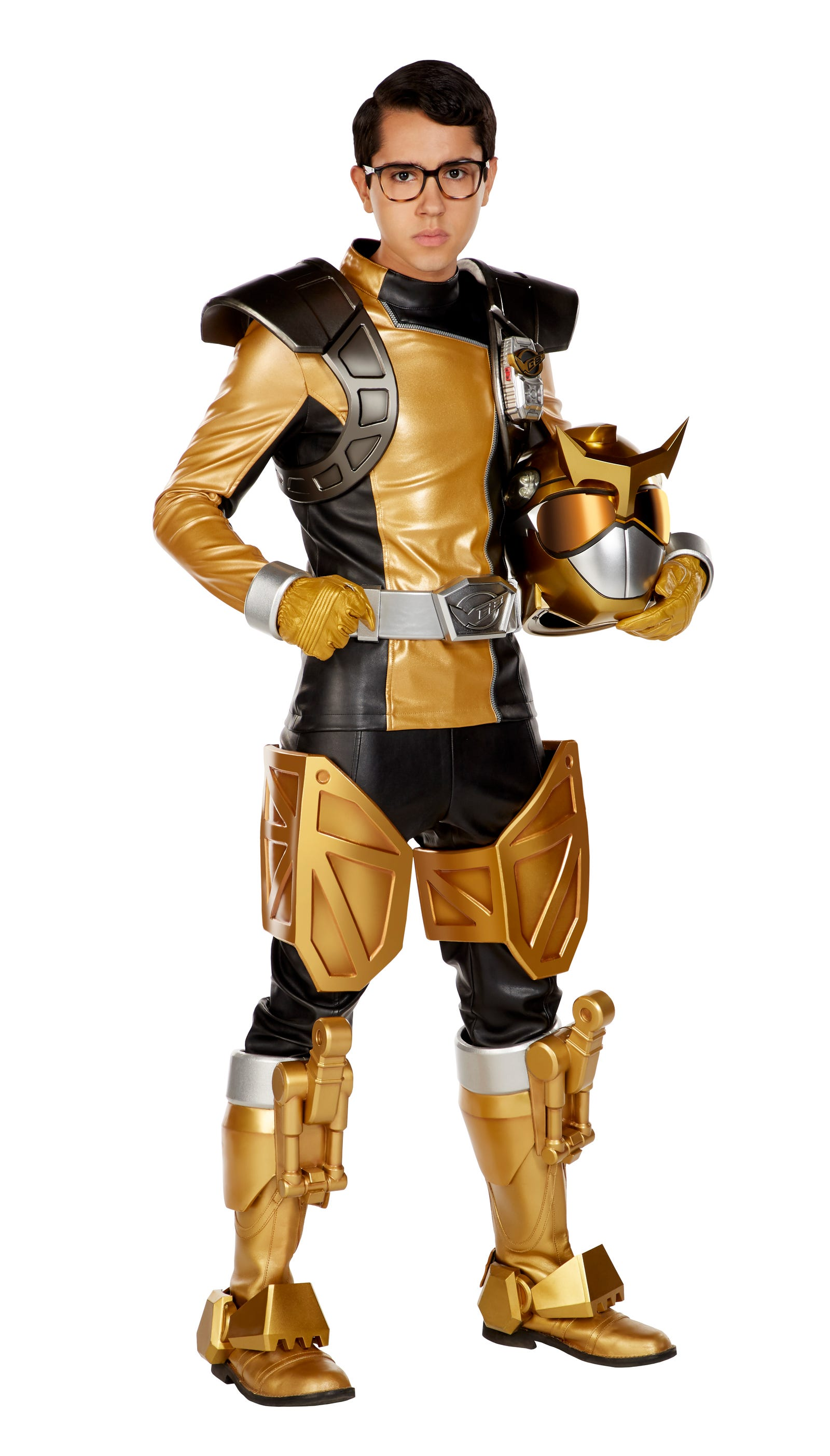 Rodriguez suited up in Nate's new Gold Ranger gear.