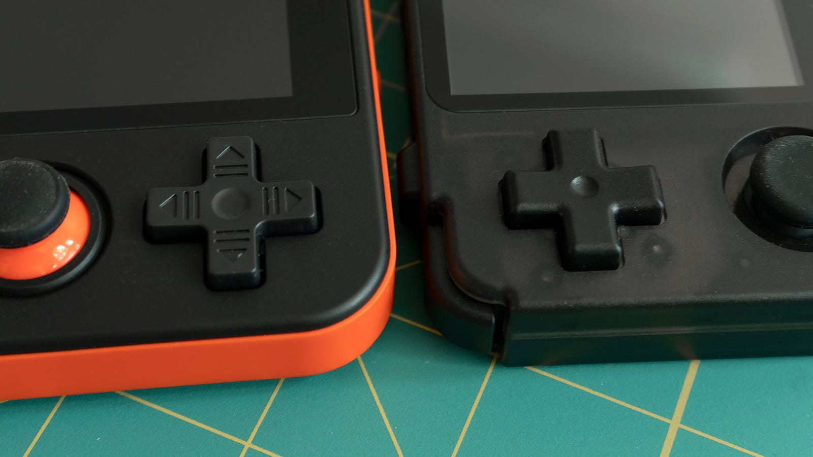The four-way directional D-pad on the RK2020 (right) is smaller than the RG350's (left) but feels better under thumb.