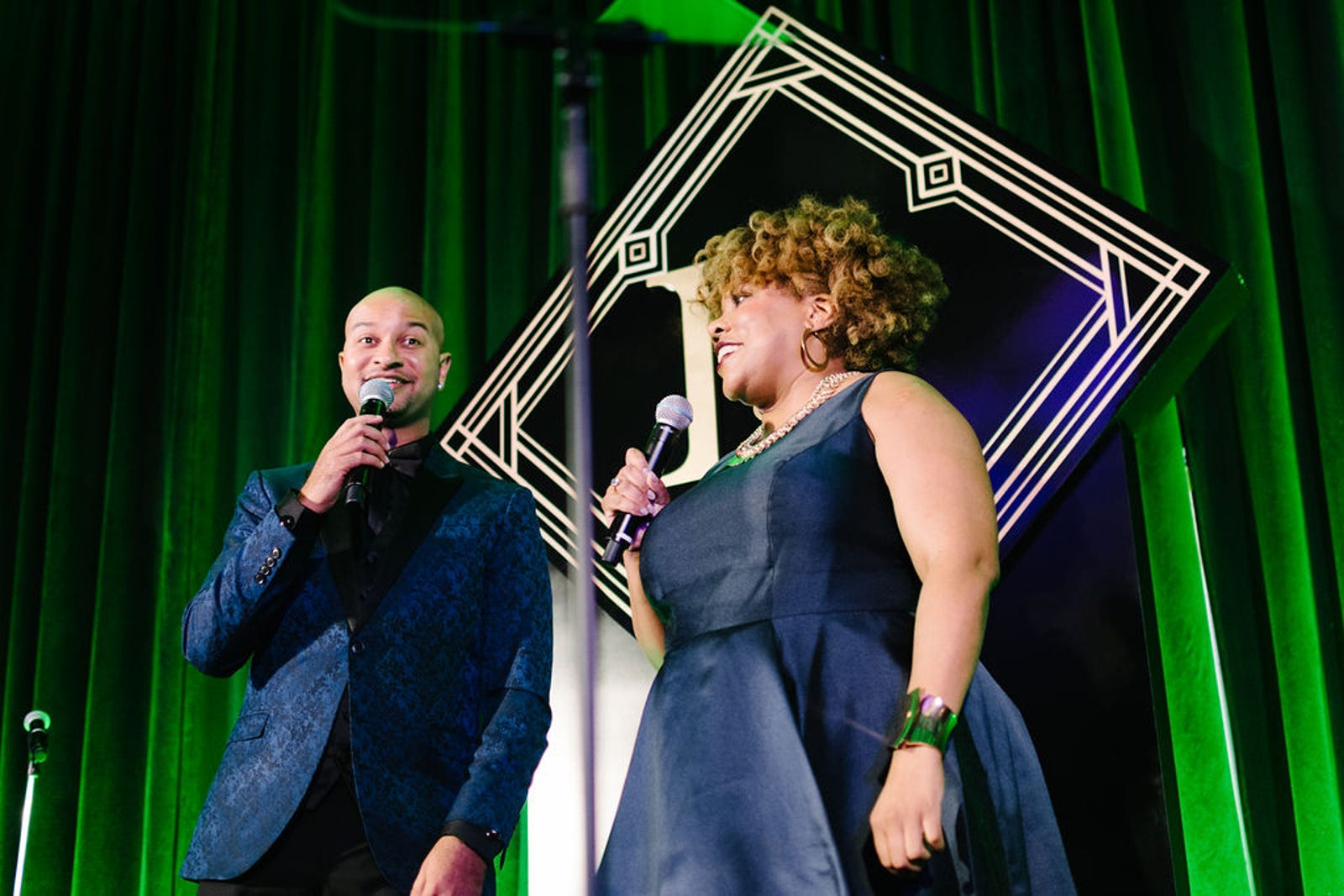 (l) Panama Jackson and Danielle Belton host The Root 100 gala.