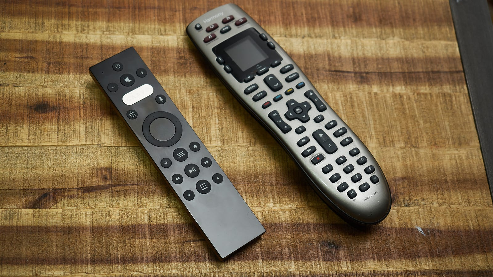 The Caavo remote versus my perfectly fine $70 Harmony 650 from Logitech.