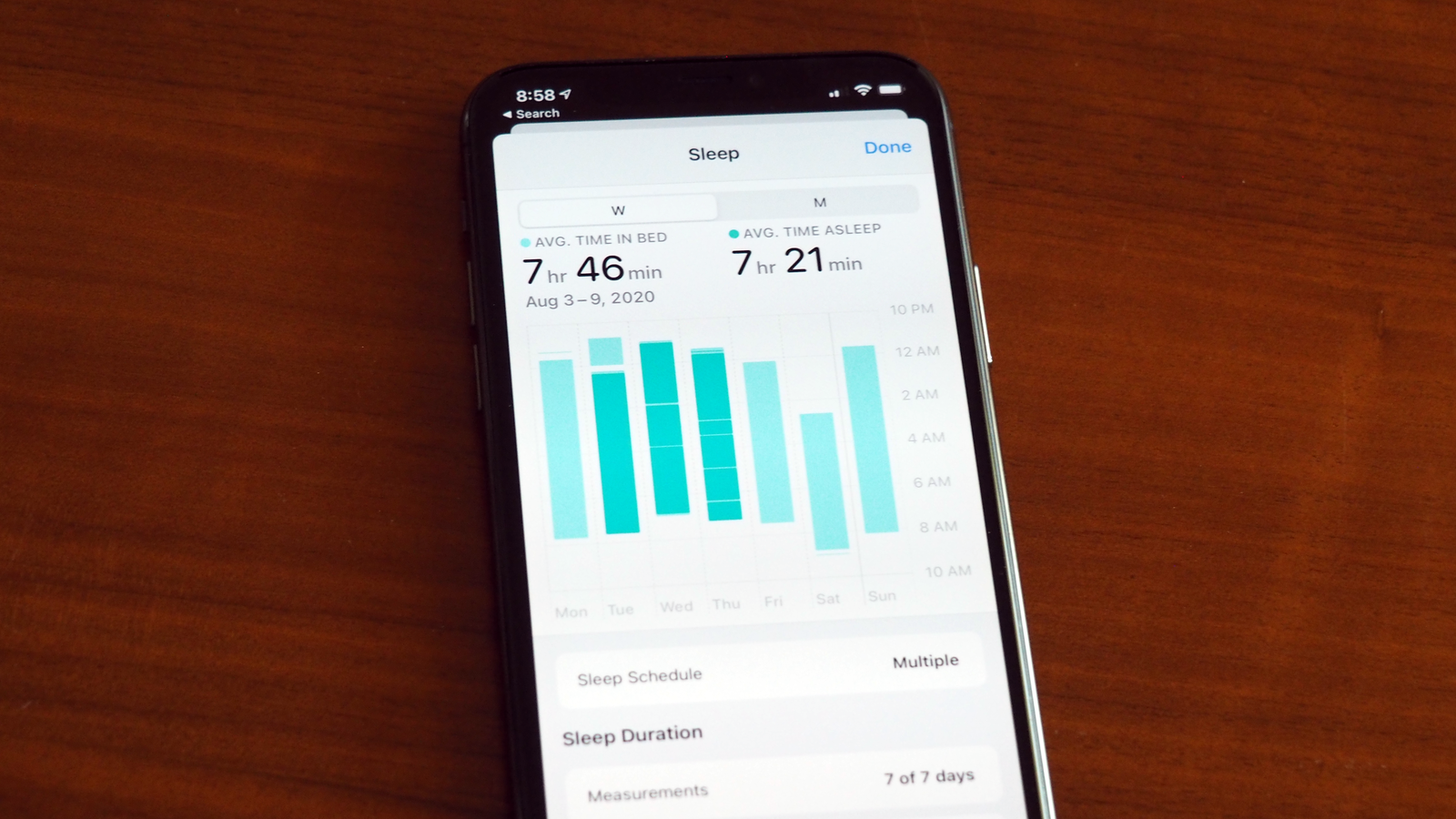 Your iPhone's Health app is where you'll see sleep breakdowns like weekly trends.