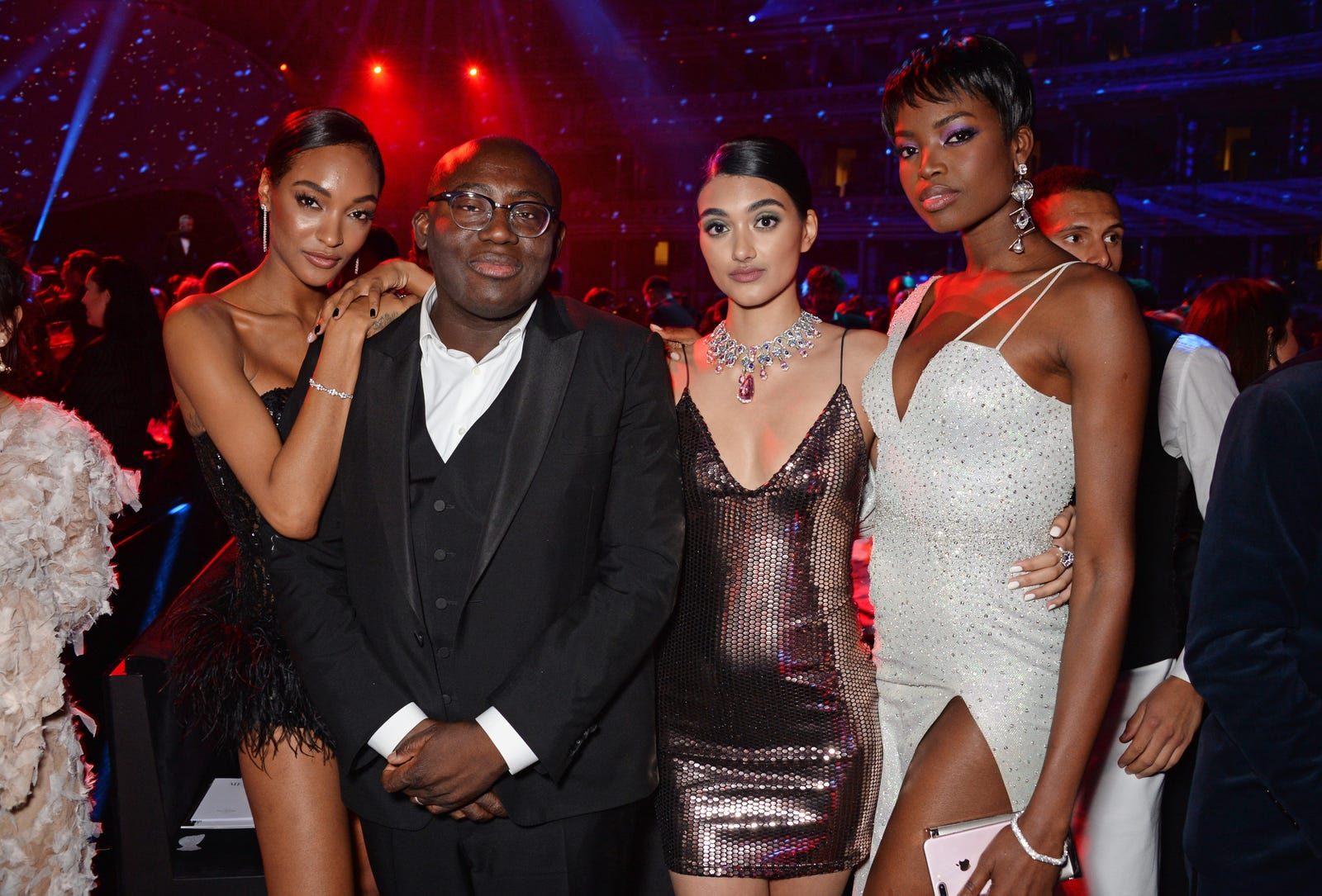 (L to R) Jourdan Dunn, Edward Enninful, Neelam Gill and Maria Borges