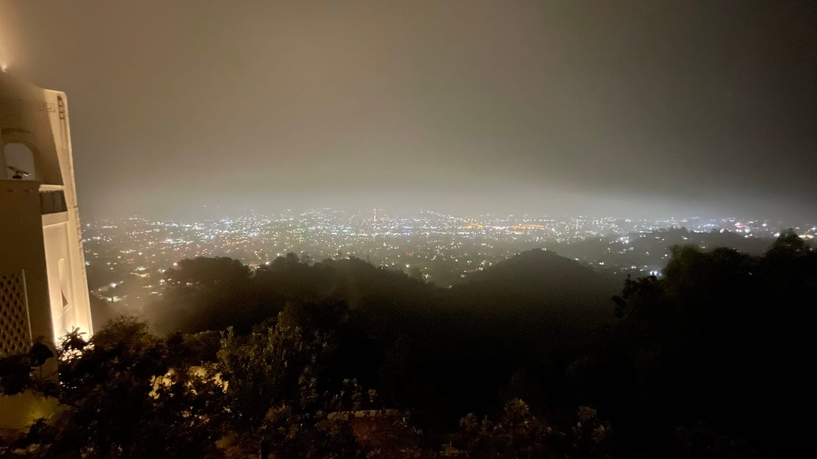 Challenging iPhone 12 Night Mode ultra-wide-angle shot of a foggy evening over LA.
