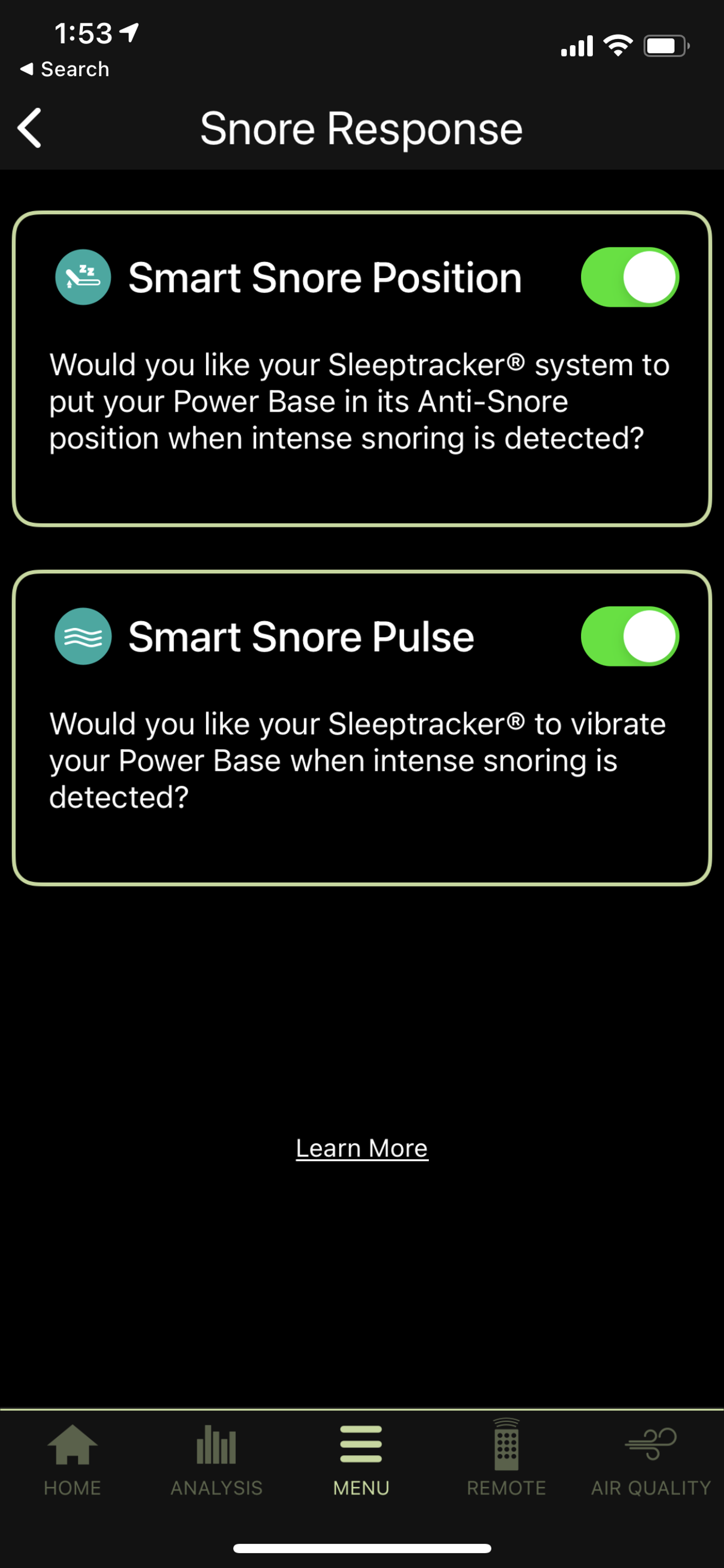 The anti-snore response is optional, and requires you to opt in by toggling on the settings in the app.