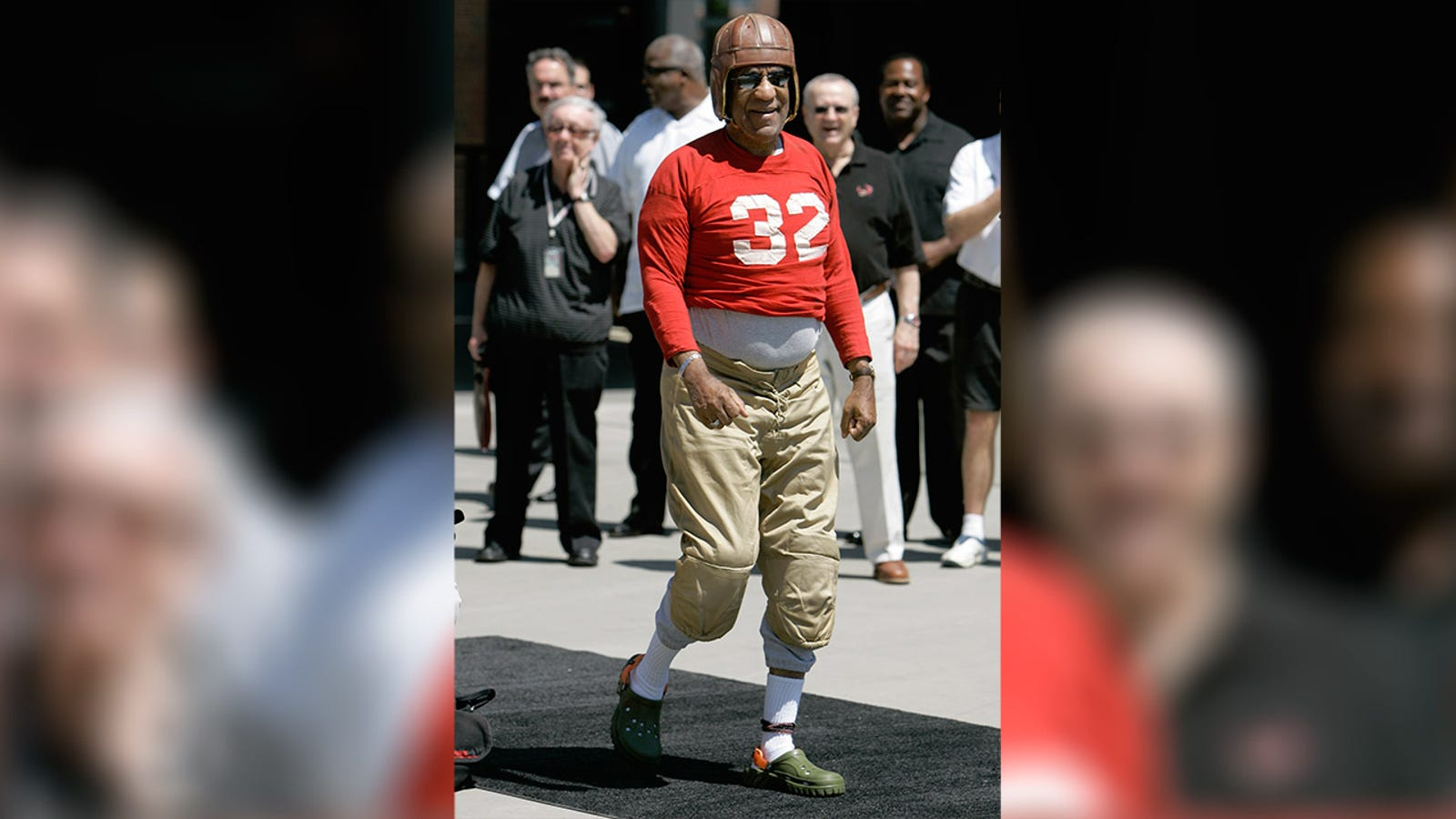 Bill Cosby wore an old-timey football uniform at Temple football media day in 2007.