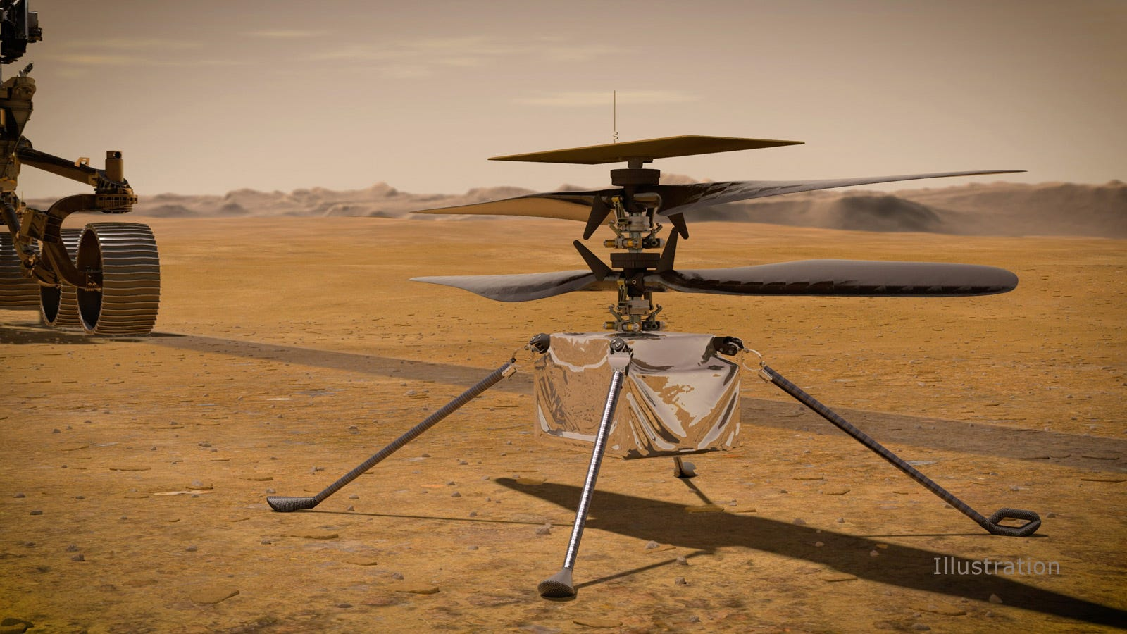 Artist's conception of Ingenuity on Mars.