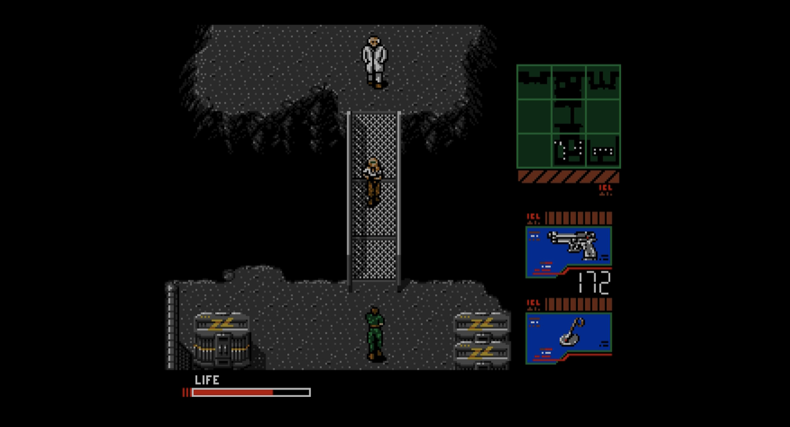 Snake is betrayed by a close ally (Grey Fox) while escorting a scientist (Madnar.)