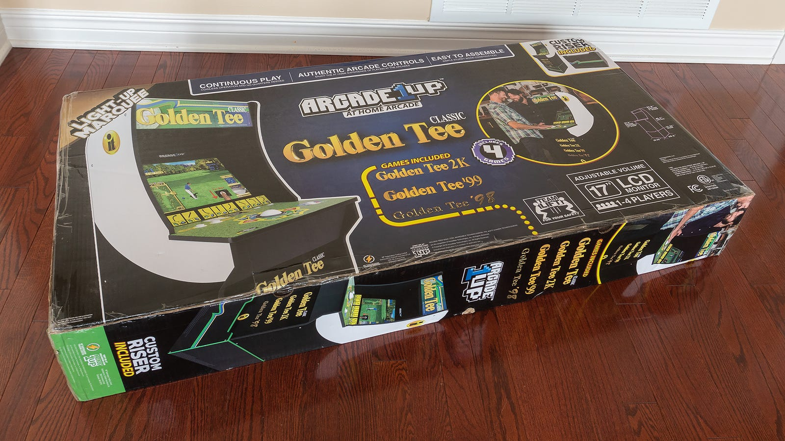 At 72-pounds The Golden Tee box isn't impossible to maneuver on your own, but a second person will make it a lot easy to carry and build
