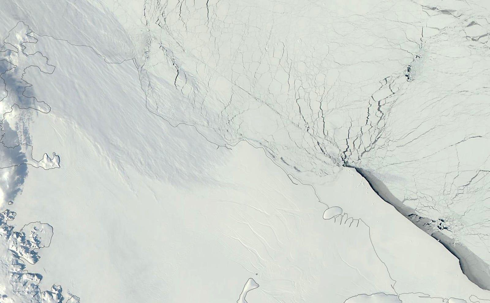 The Larsen C ice shelf in 2012, just a blank slate.