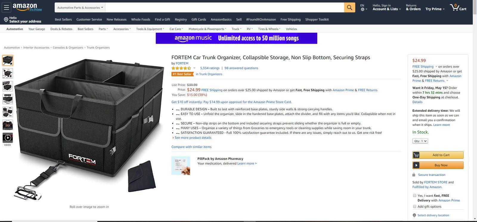 Fortem's car trunk organizer on Amazon