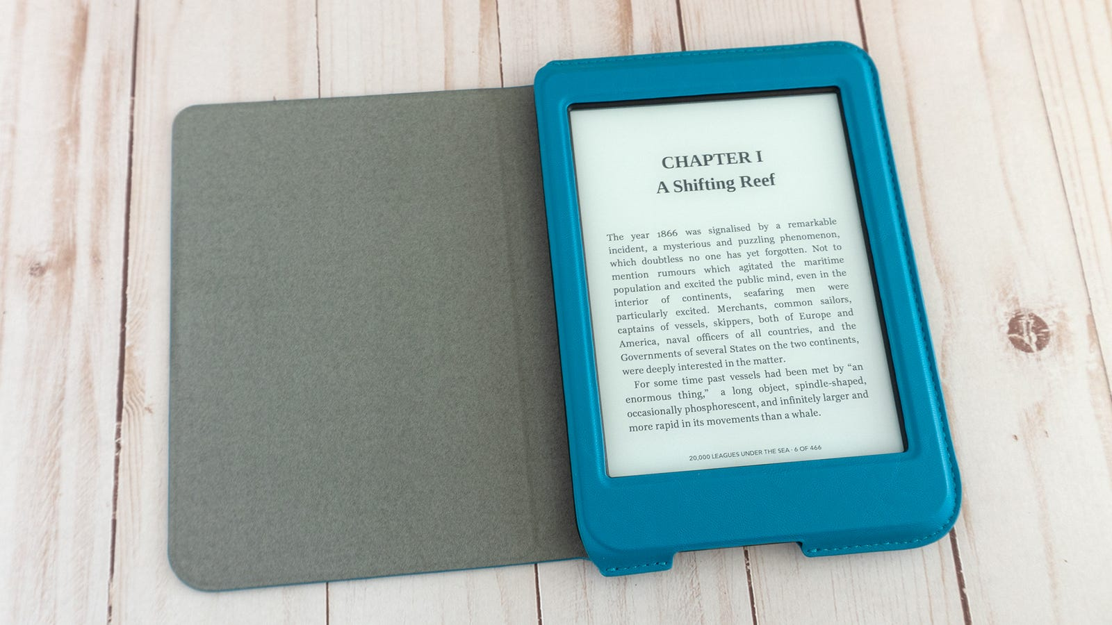The Kobo Nia works with an optional collection of faux leather book-style cases available in either blue, black, or yellow. But unlike the cases for the Kobo Clara HD, they don't double as hands-free stands.