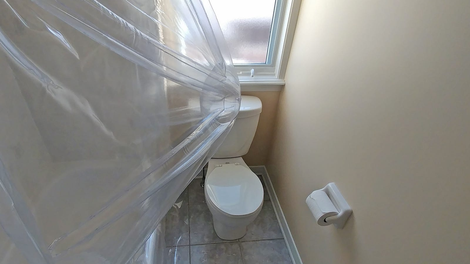 When extended, the Aircurv's inflatable batten will gobble up a bit of space, especially in an already cramped bathroom.