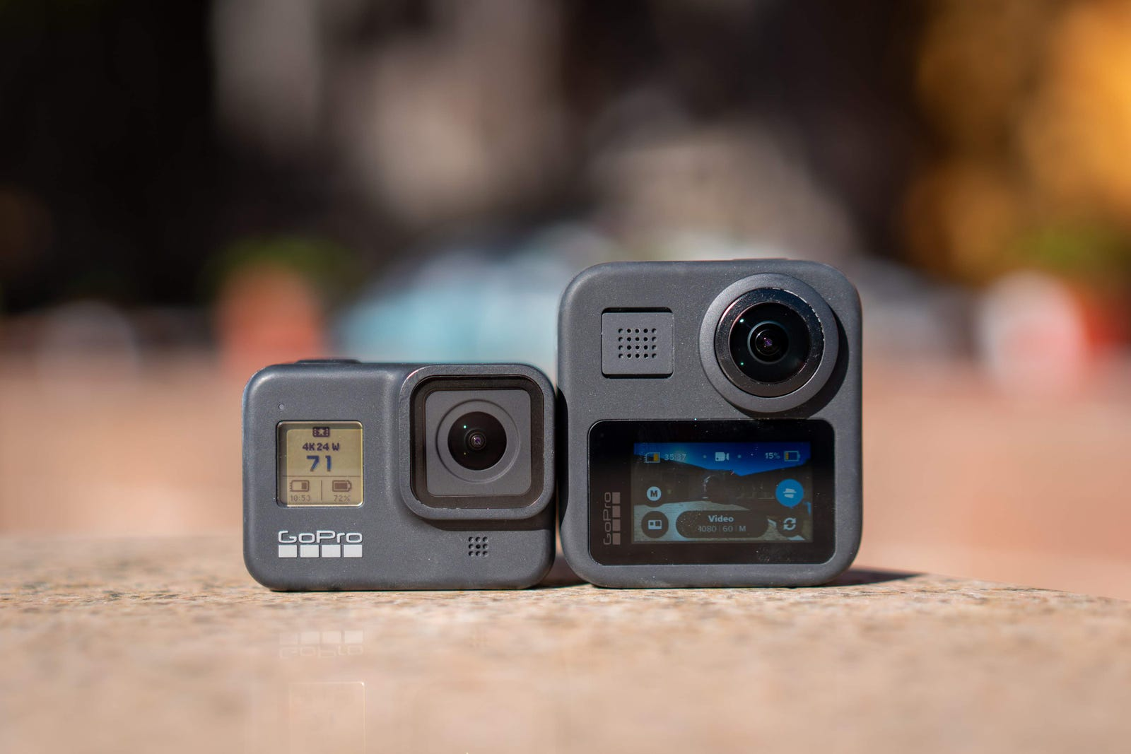 The GoPro Hero 8 Black (left) versus the GoPro Max (right).