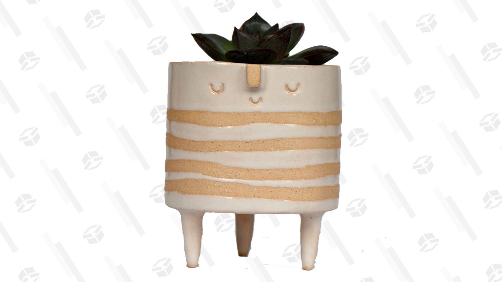 Short white striped tripod planter pot   $65   Etsy - AtelierStellaCeramic
