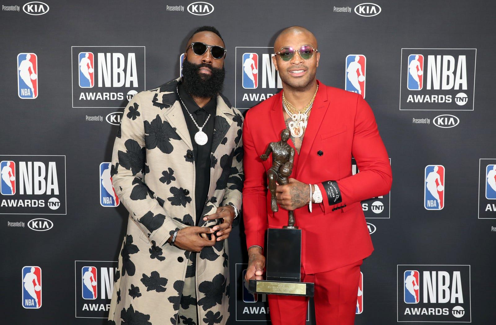 MVP winner James Harden poses with P.J. Tucker at the 2018 NBA Awards at Barkar Hangar on June 25, 2018 in Santa Monica, California.
