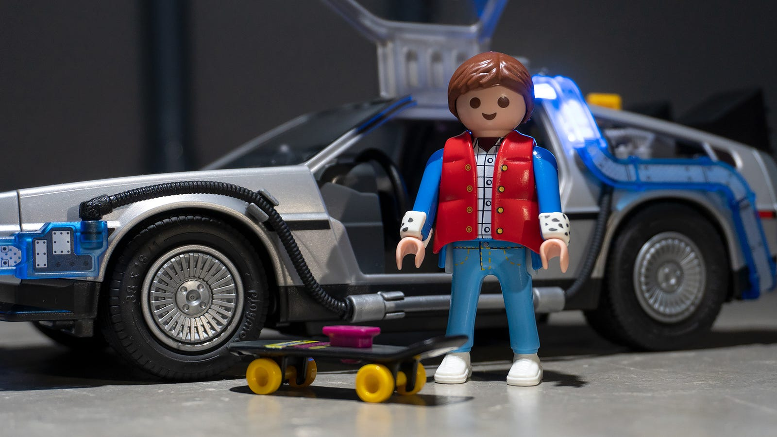 Playmobil's Marty McFly sports his 1985 costume from the film and includes his present-day skateboard. But we would have really liked to see his hoverboard from 2015 included as well.