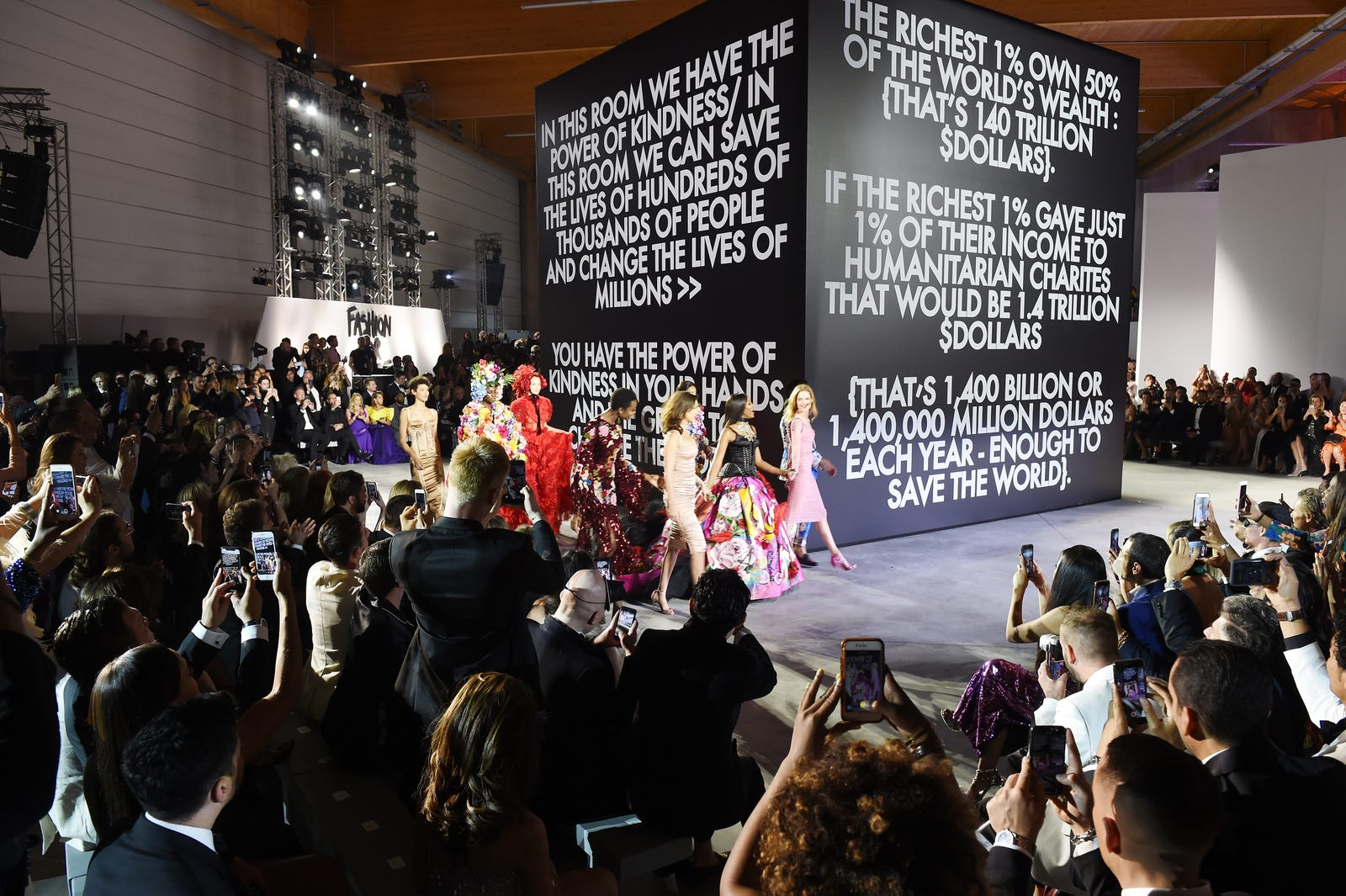 The runway at Fashion for Relief Cannes 2018 during the 71st annual Cannes Film Festival at Aeroport Cannes Mandelieu on May 13, 2018, in Cannes, France.