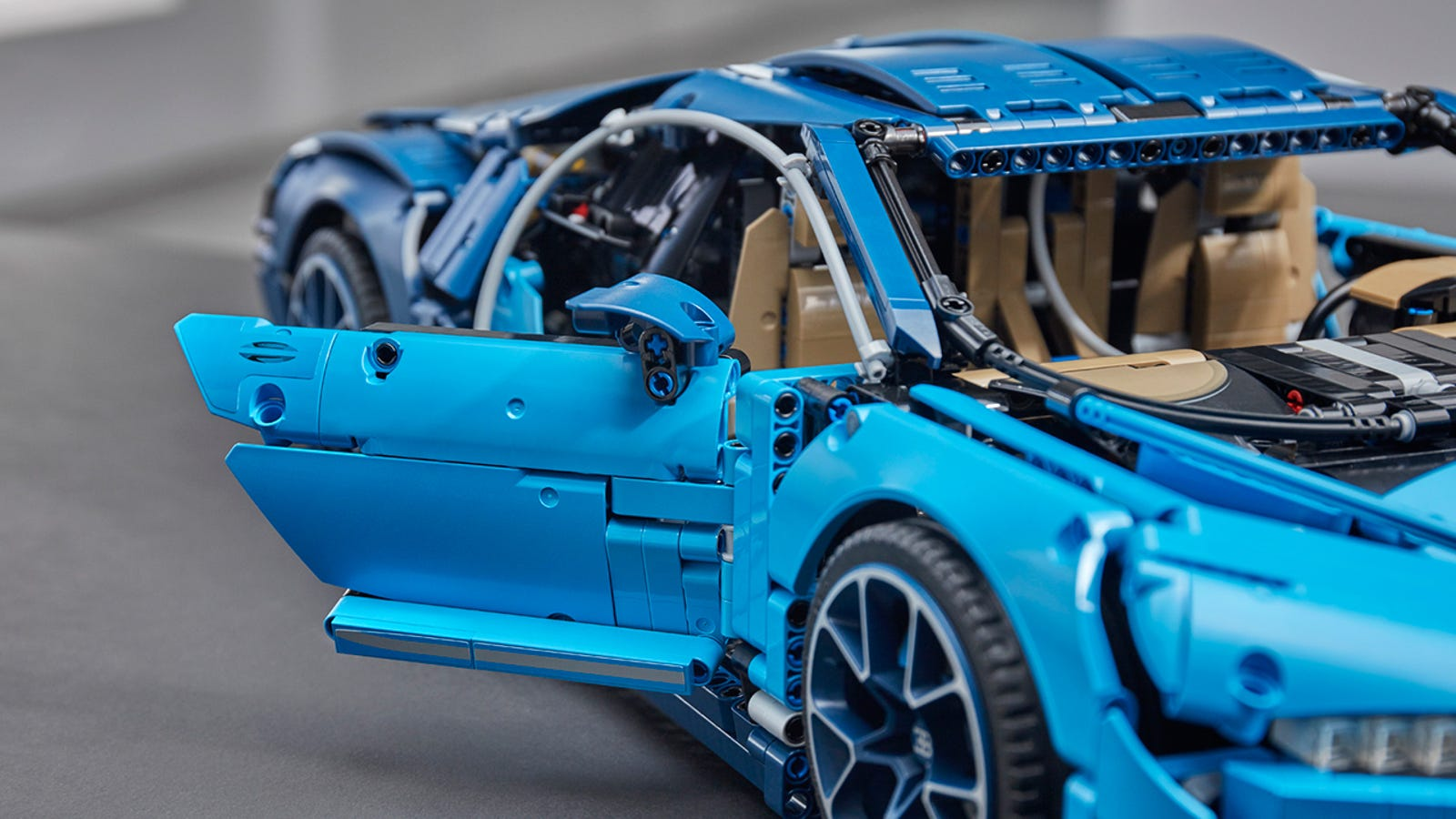 Doors that open and close are a standard feature on both the real and Lego versions of the Chiron.