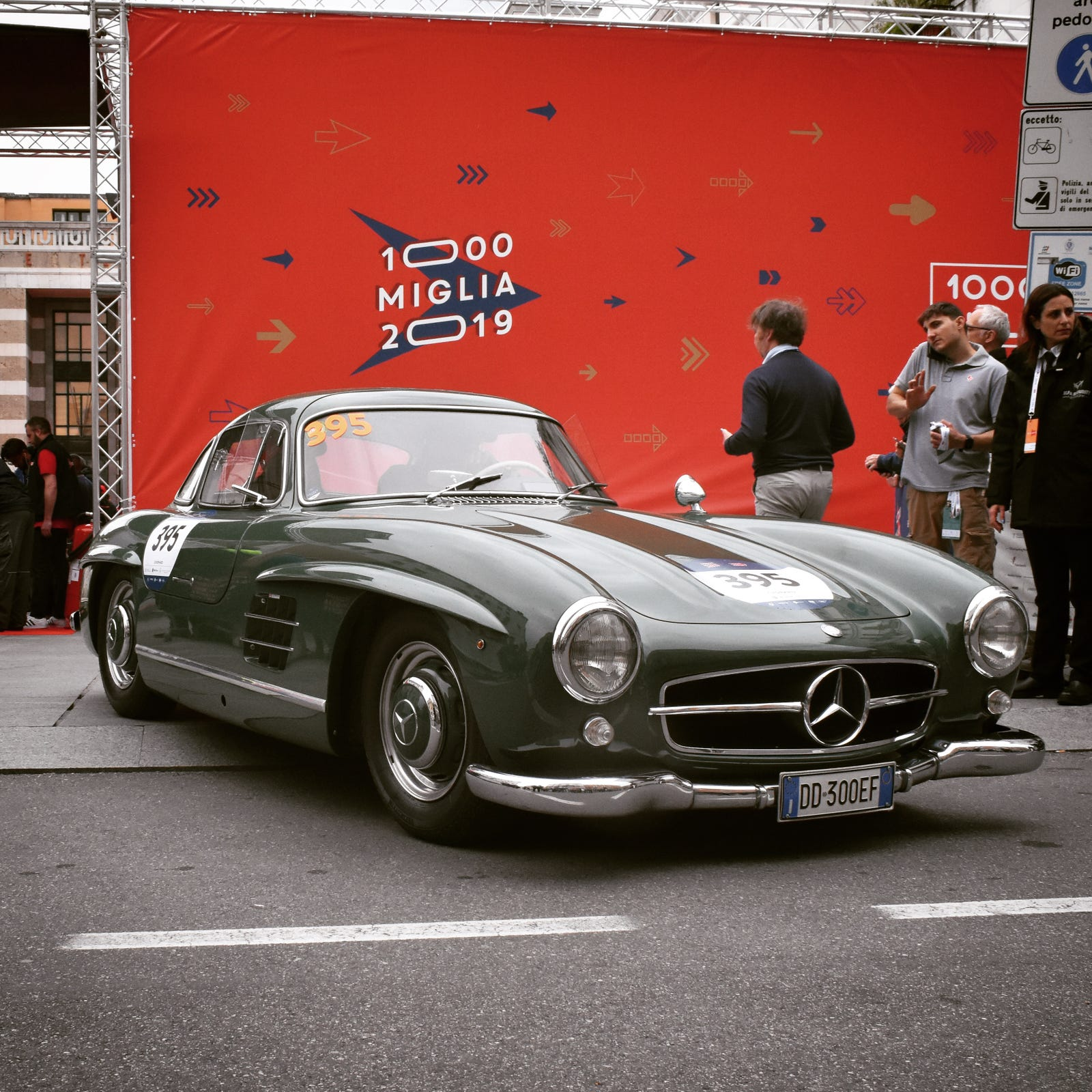 1955 Mercedes-Benz 300 SL (W198) leaving the sealing paddock in Brescia, Italy on day 1 of the 2019 Mille Miglia.