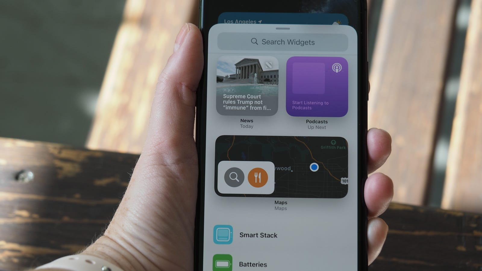 Right now your only widget options are Apple's own, but this fall you'll see widgets for third-party apps here.
