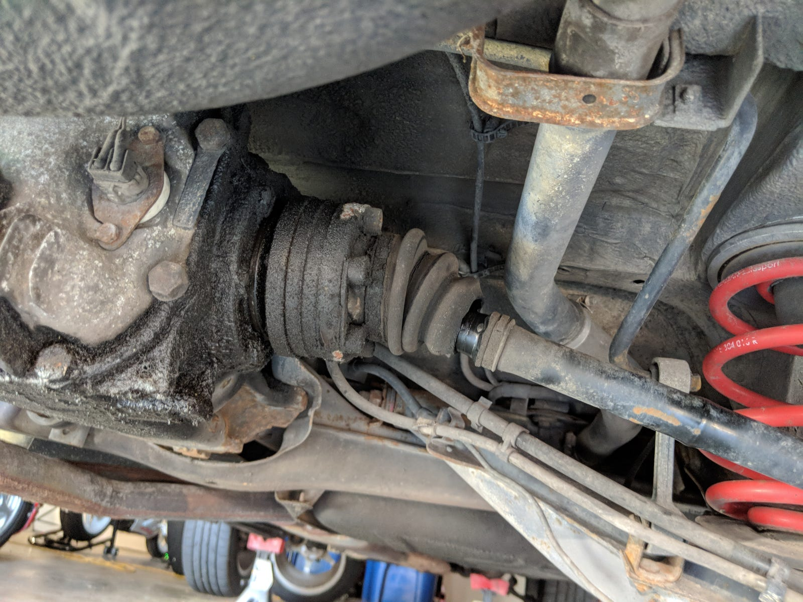 Split CV boots and a differential caked in oil. Help!