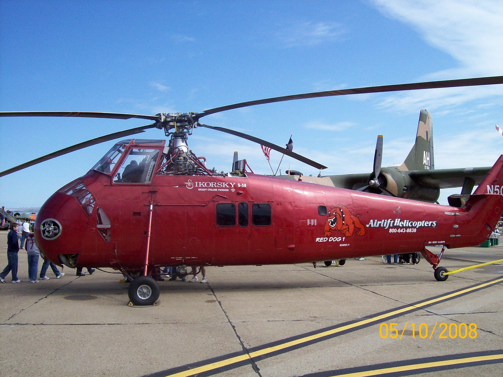 Built as a HUS-1 in 1958, Red Dog 1 was redesignated as an UH-34D Seahorse in 1962, served in Vietnam, then was retired in 1970.