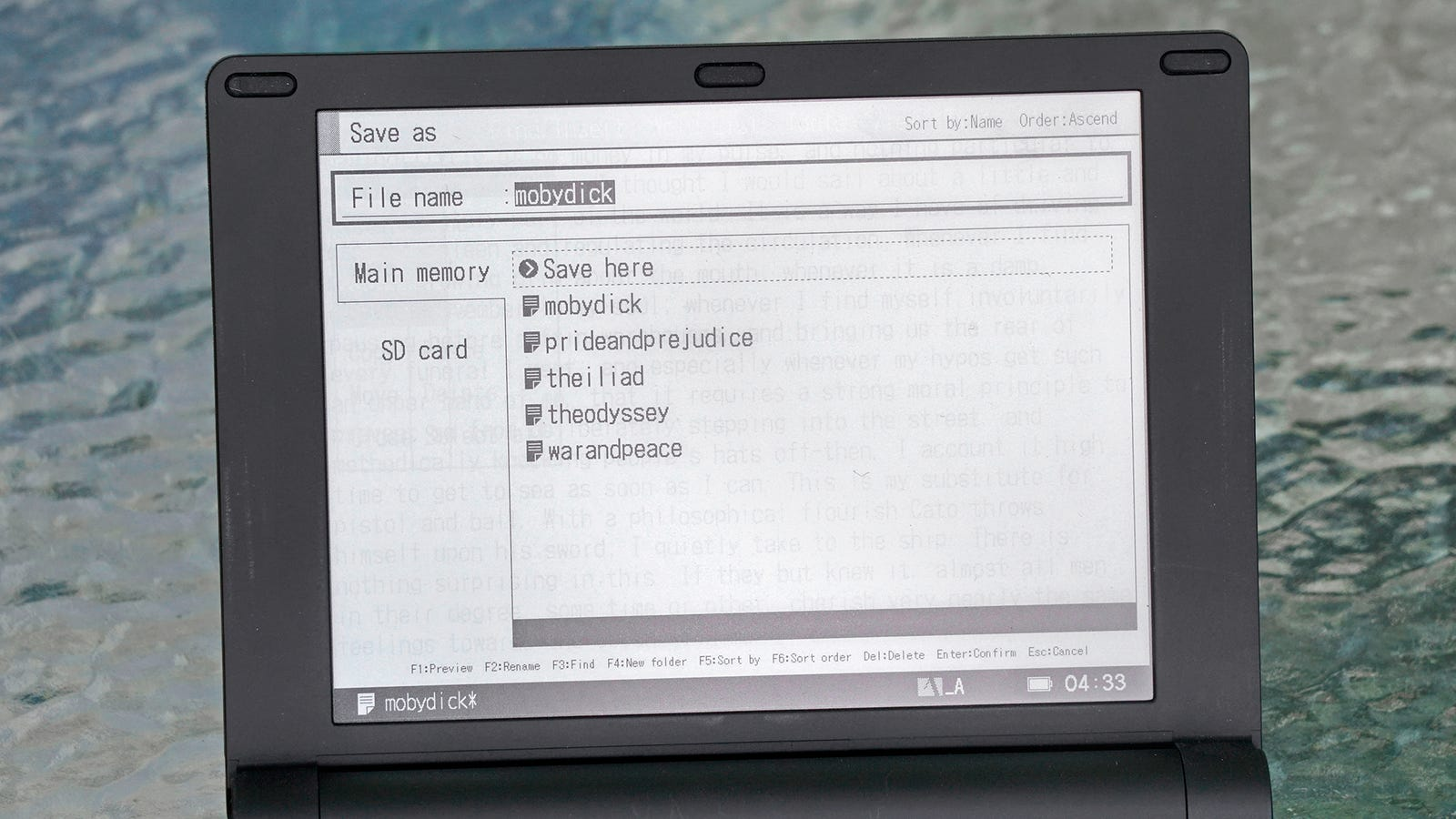 Files can be stored on the device itself, or on an SD card for easier file transfers.