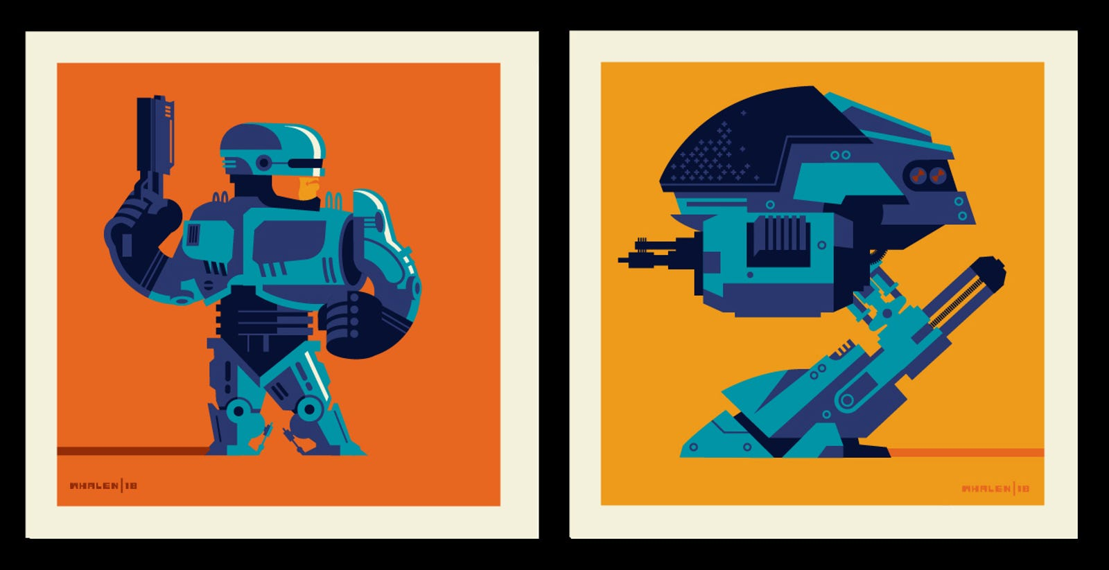 Robocop vs. ED 209 by Tom Whalen